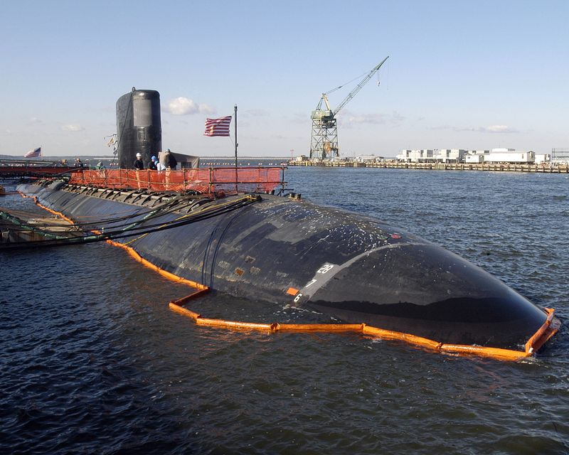 The USS Toledo sits pierside at Northrop Grumman's Newport News shipyard.