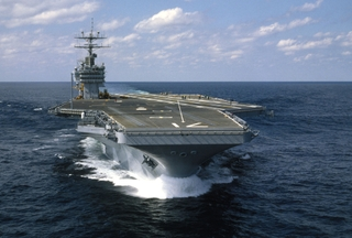 The USS Theodore Roosevelt (CVN 71) was built by Northrop Grumman's Newport News sector and is pictured during its initial sea trials in 1986.