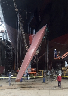 Northrop Grumman inspected, cleaned, painted and re-installed the USS Carl Vinson's rudders
