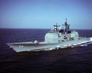 The Aegis guided missile cruiser USS San Jacinto (CG 56)