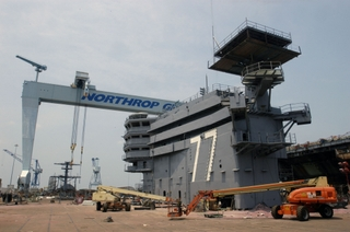 CVN 77's island is the 161st and final super lift in the ship's construction schedule