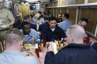On April 7, 2006, sailors ate the first meal ever prepared on the Virginia-class submarine Texas