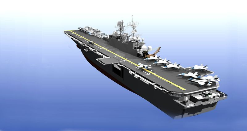 An artist's rendition of Northrop Grumman's amphibious assault ship LHA 6.