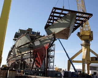 Unit 1120, which will complete the bow section of the first National Security Cutter under construction at Northrop Grumman Ship Systems' Pascagoula facility