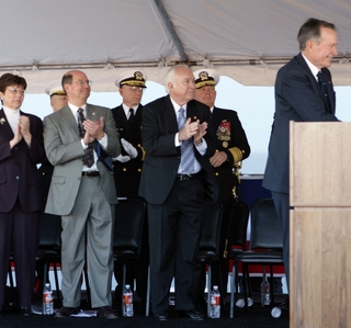 Photo Release -- Former President George Bush says Northrop Grumman-built USS San Antonio (LPD 17) Will Play a Vital Role in Protecting America's Interests