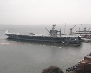 The USS George Washington (CVN 73) departed for sea trials