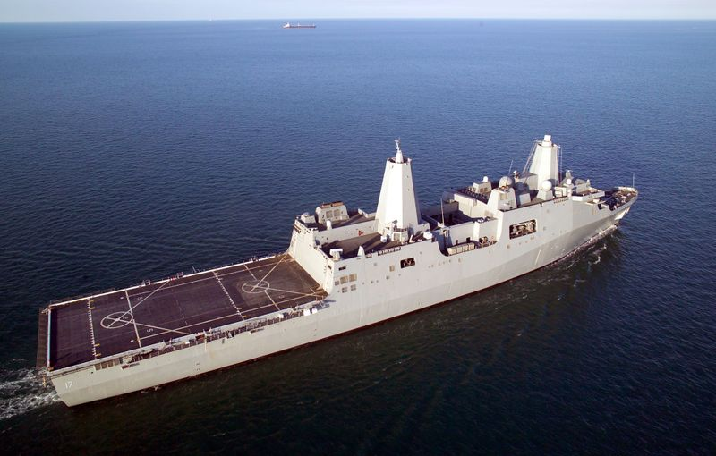 San Antonio (LPD 17), the first in a class of new U.S. Navy amphibious transport dock ships