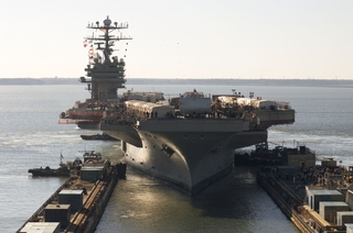 The USS Carl Vinson arrived at Northrop Grumman's Newport News sector
