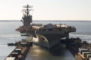 The USS Carl Vinson arrived at Northrop Grumman's Newport News sector