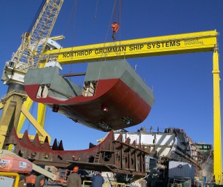 Northrop Grumman riggers utilized gantry cranes to lift assembly 3330
