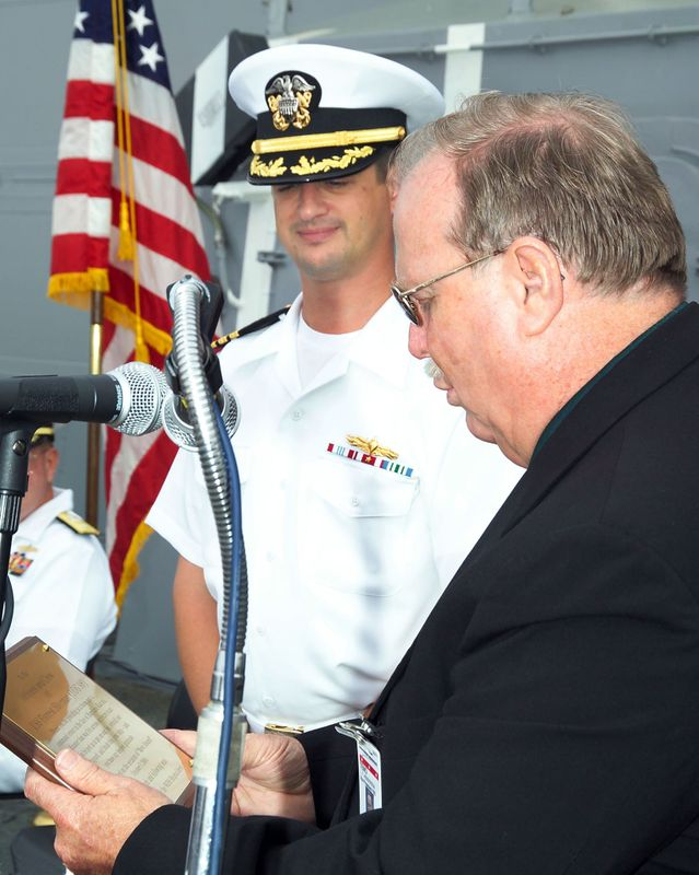 Teno Henderson (right), vice president of the Aegis destroyer program at Northrop Grumman's Ship Systems sector
