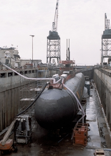 The USS Minneapolis-St. Paul is pictured at Northrop Grumman's Newport News shipyard in 2003.