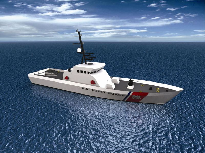 Artist's rendition of the 140-foot Fast-Response Cutter being developed by Integrated Coast Guard Systems