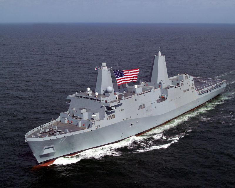 The U.S. Navy's newest amphibious ship, the future USS San Antonio (LPD 17)