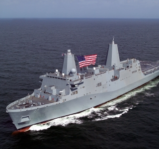 Photo Release -- LPD-17 Ship, San Antonio, Sails for First Time from Northrop Grumman's Pascagoula Shipyard into Gulf of Mexico