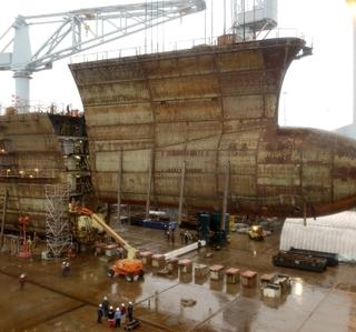 Photo/Video Release -- Northrop Grumman Reaches Milestone on George H. W. Bush Construction