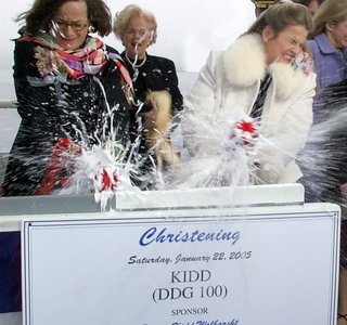 Photo Release -- Northrop Grumman-built Kidd (DDG 100) Christened; Ceremony Honors Heroic Navy Family