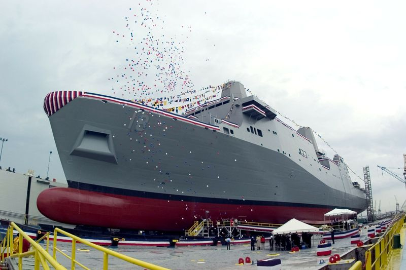 Celebratory balloons float skyward at christening ceremony of New Orleans (LPD 18)