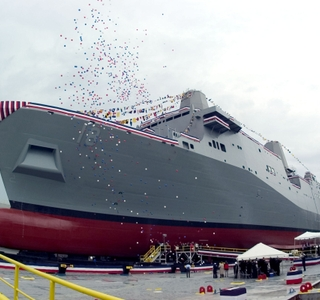 Photo Release -- Northrop Grumman-built LPD 18 Transport Dock Ship Christened in New OrleansAdm. Vern Clark says the LPD 18