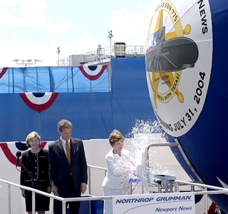 Photo Release -- Laura Bush Christens Texas Submarine at Northrop Grumman