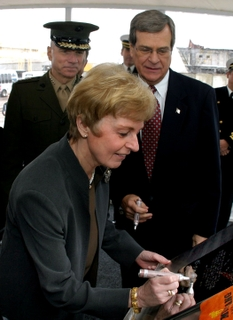 AUTHENTICATION -- Mrs. Silke Boie Hagee, Ship's Sponsor for Makin Island (LHD 8), signs her initials on the keel plate of the eighth multipurpose amphibious assault ship being built by Northrop Grumman Ship Systems