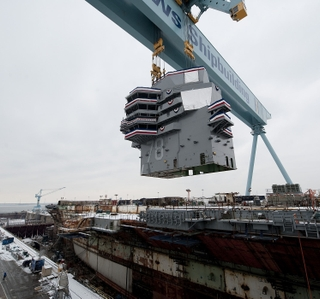 Photo Release -- Aircraft Carrier Gerald R. Ford (CVN 78) Topped Off with 555-Metric Ton Island