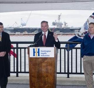 Photo Release -- U.S. Senator Tim Kaine Discusses Defense Budget Impacts During Tour of Newport News Shipbuilding
