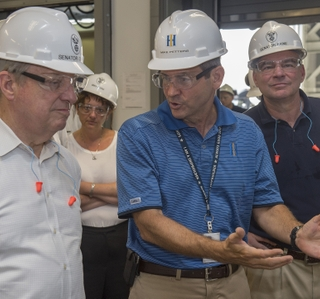 Sens. Tim Kaine and Dick Durbin visit Newport News Shipbuilding