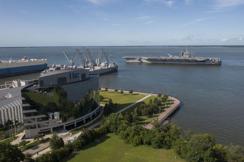 USS Theodore Roosevelt (CVN 71) Departs Newport News Shipbuilding
