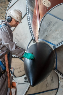 Propellers Installed on Aircraft Carrier Gerald R. Ford (CVN 78)