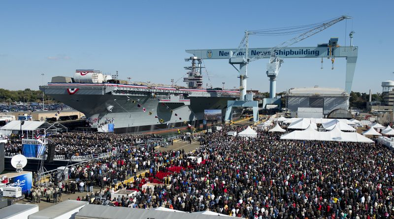 Thousands gather to witness the christening of Gerald R. Ford (CVN 78)