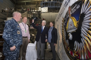 Submarine John Warner (SSN 785) has reached pressure hull complete
