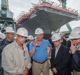Photo Release -- Huntington Ingalls Industries Hosts U.S. Sens. Kaine and Reed at Newport News Shipbuilding