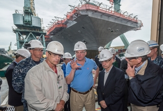 Sens. Kaine and Reed visit Newport News Shipbuilding