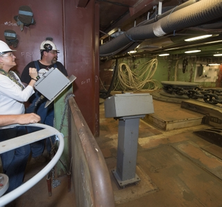 Photo Release -- Anchors Aweigh as Newport News Shipbuilding Tests the New Anchor-Handling System on Aircraft Carrier Gerald R. Ford (CVN 78)