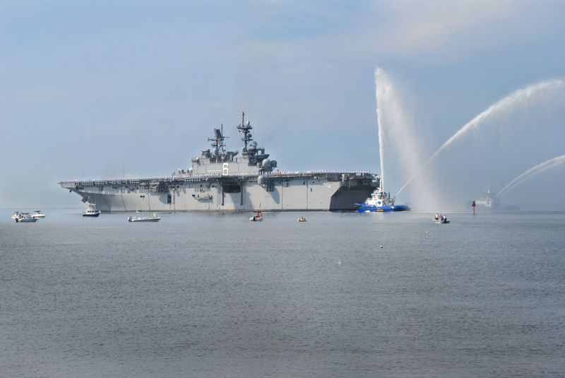 America (LHA 6) Sails Away from Ingalls Shipbuilding