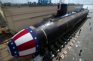 Submarine John Warner (SSN 785) in floating dry dock