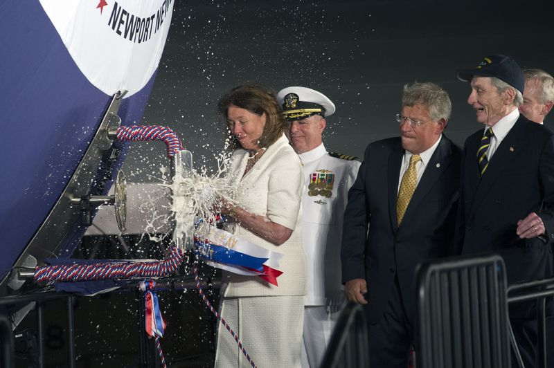 Jeanne Warner Christens Submarine John Warner (SSN 785)