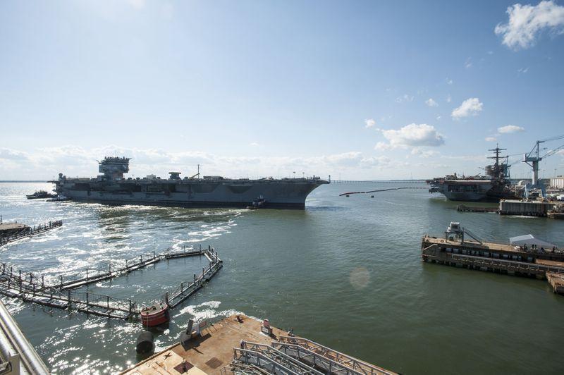 Aircraft Carrier USS Enterprise (CVN 65) Leaves Pier 2