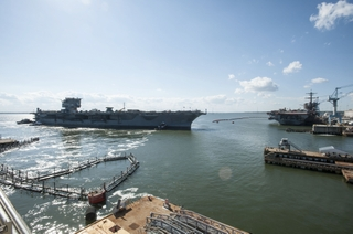 Aircraft Carrier USS Enterprise (CVN 65) Leaves Pier 2