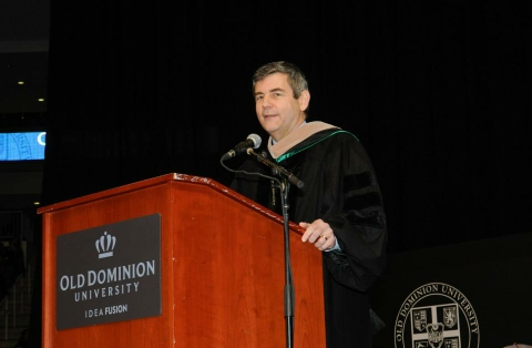 Mike Petters speaks at ODU Commencement Ceremony