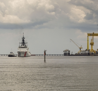 Photo Release--National Security Cutter James Sails From Ingalls; Ship Will be Commissioned on Aug. 8