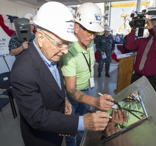 Photo Release--Ingalls Shipbuilding Authenticates the Keel of Paul Ignatius (DDG 117)