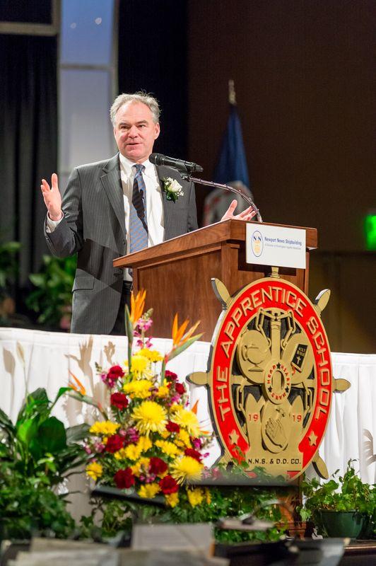 Sen. Tim Kaine Speaks at Newport News Shipbuilding's The Apprentice School Graduation