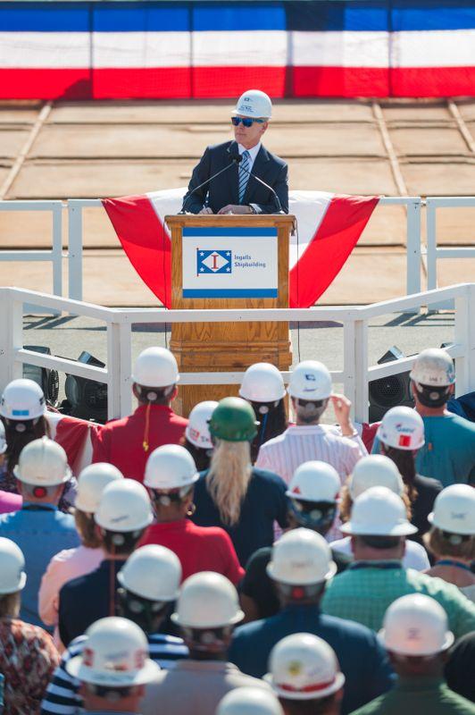 Secretary of the Navy Ray Mabus Visits Ingalls Shipbuilding