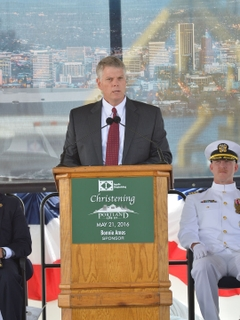 Brian Cuccias Speaks at the christening of Portland (LPD 27)