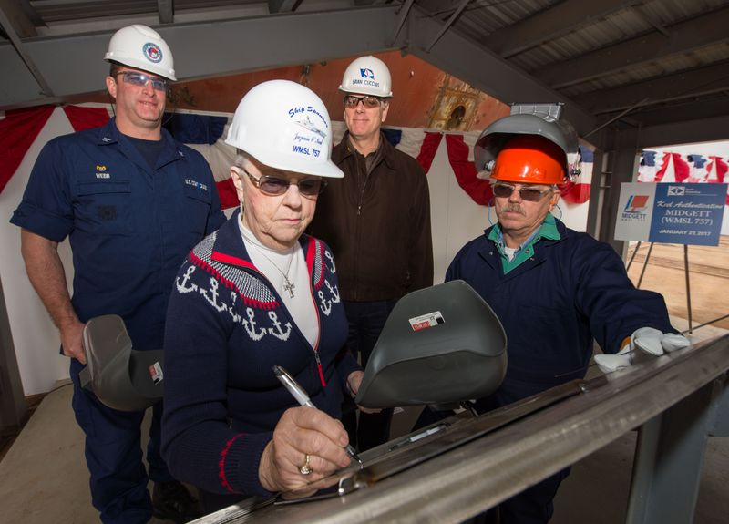 Keel of National Security Cutter Midgett Authenticated