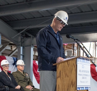 Brian Cuccias at the DDG 212 Keel Authentication Ceremony