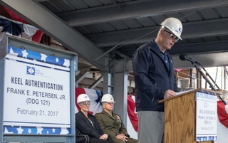 Brian Cuccias at DDG 121 keel authentication ceremony.