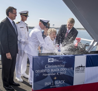 Photo Release--Huntington Ingalls Industries Christens Destroyer Delbert D. Black (DDG 119)